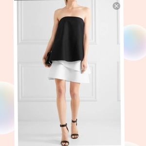 Halston Heritage Black/chalk Strapless Mini Dress
